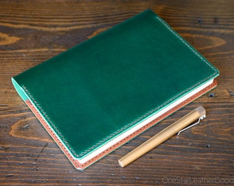 Hobonichi Cousin planner (fits other A5 notebooks) cover, leather journal cover, Horween Chromexcel leather - green