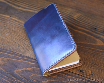 "Field Notes wallet, ""Park Sloper No Pen,"" wallet & notebook cover - Horween navy shell cordovan / natural chromexcel"