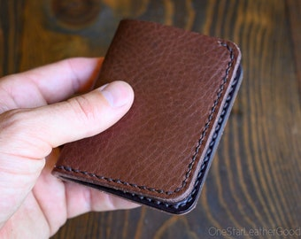 LIMITED RUN - 6 Pocket Horizontal Leather Wallet, Horween leather - pebble brown / dark brown