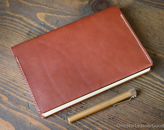 Leather wrap cover for A5 softcover notebooks - Medium Brown - fits Hobonichi, Leuchtturm1917, Rhodia, Midori, Muji, Apica, Nanami and more