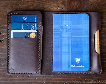 """Notebook/wallet/pen, """"Park Sloper Medium"""" - brown bridle leather"""
