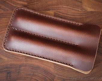 Double Pen Sleeve, Horween Chromexcel leather - brown