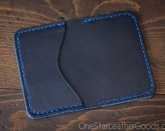 3 Pocket Card Wallet - Horween Chromexcel leather - bright blue