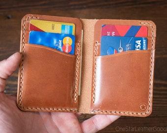 6 Pocket Vertical Leather Wallet - chestnut harness leather