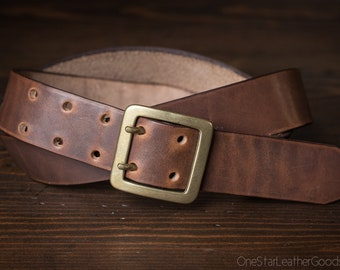 "Custom sized belt - 1.5"" width - Horween Dublin leather - center bar buckle - brown"