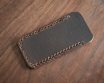 "Pocket Knife Slip Case, size Small, for knifes up to 3.75""- Horween Dublin brown"