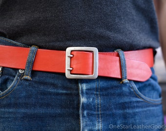 "LIMITED Bright Red 1.5"" belt - Custom sized belt, 1.5"" width, bridle leather, center bar buckle"