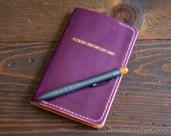 """DISCOUNT - Notebook cover, 3.5 x 5.5"""" for Field Notes and other notebooks - Horween shell cordovan / tan bridle"""