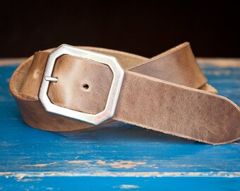 "Custom sized belt - 1.5"" width - Horween Chromexcel leather - center bar buckle - natural chromexcel"