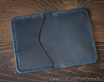 3 Pocket Card Wallet - Horween Chromexcel leather - navy