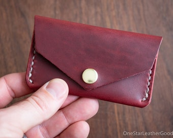Coin pouch / wallet / business card case, Horween Chromexcel leather - red / natural stitch
