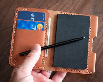 "Small notebook wallet and pen ""Park Sloper Junior"" - chestnut skirting leather"