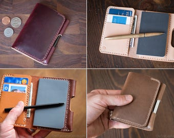"""BUILD-YOUR-OWN - """"Park Sloper Junior"""" Tiny notebook wallet and pen - for Fisher Space Pen and Kaweco Liliput Fountain Pen"""
