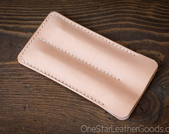 Double Pen Sleeve, Horween Chromexcel leather - natural veg tanned undyed leather