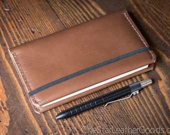 Leuchtturm 1917 Pocket (A6) hardcover notebook wrap cover, Horween leather - truffle color
