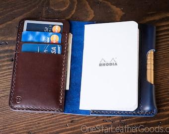 "Notebook/wallet/pen, ""Park Sloper Medium"" - Horween Chromexcel blue / brown"