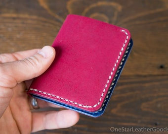 DISCOUNT - LIMITED RUN - 6 Pocket Horizontal Leather Wallet, Horween leather - magenta / blue