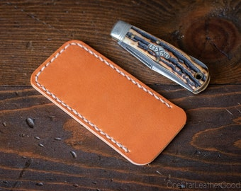 Pocket knife slip case, Size Small - tan bridle leather