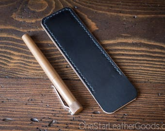 Pen Sleeve size large - hand stitched Horween leather - black