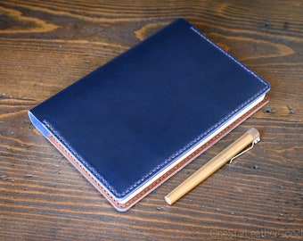 Hobonichi Cousin planner (fits other A5 notebooks) cover + card pockets, leather journal cover, Horween Chromexcel leather - blue