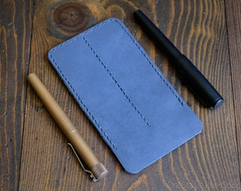 Double Pen Sleeve, Horween leather - slate blue