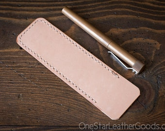 Pen Sleeve, Size Large - natural veg undyed leather