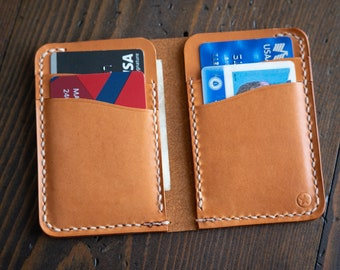6 Pocket Vertical Leather Wallet - tan bridle leather