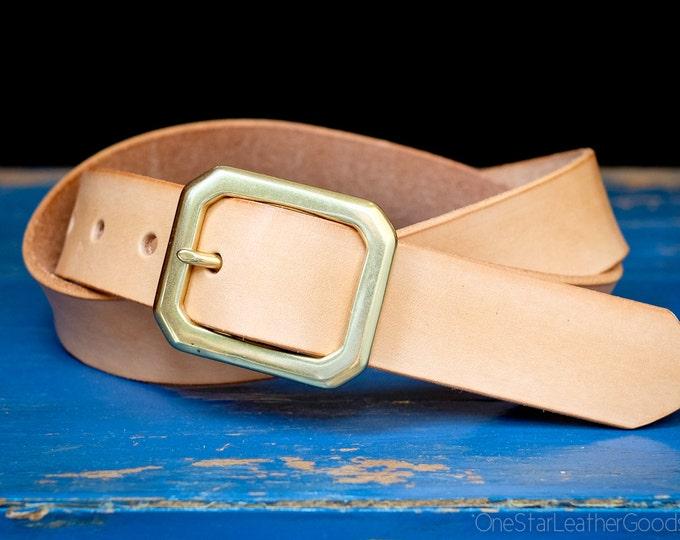 "Custom sized belt - 1.25"" width - natural veg leather - center bar buckle"