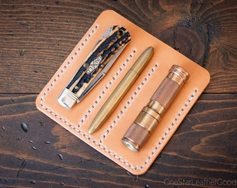 """EDC-3, every day carry pocket knife/pen/light case, for knives up to 3.75"""" closed - undyed natural veg"""