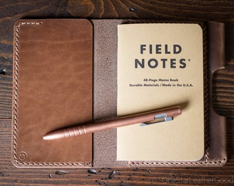"""Notebook cover + pen sleeve, 3.5x5.5"""" - hand stitched Horween leather - natural Chromexcel"""