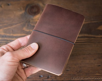 "Indie Notebook, cover for Field Notes and other 3.5""x5.5"" notebooks - natural Horween Chromexcel"