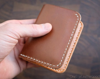 6 Pocket Horizontal Leather Wallet - dark tan