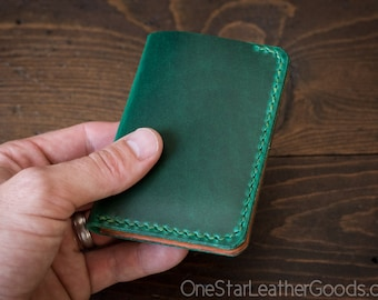 6 Pocket Vertical Wallet - Horween Chromexcel leather - green / tan