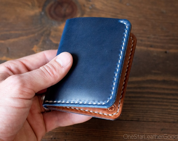 6 Pocket Horizontal Leather Wallet - Blue Horween Chromexcel / chestnut / natural stitch