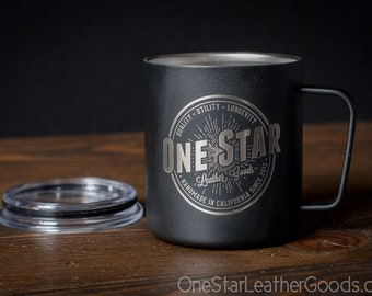 One Star Leather Goods Insulated Miir Camp Cup - laser etched