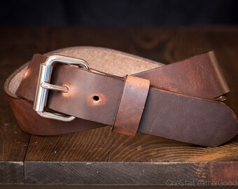 "Custom sized belt, 1.25"" width, Horween Dublin leather, heel bar buckle - brown nut"