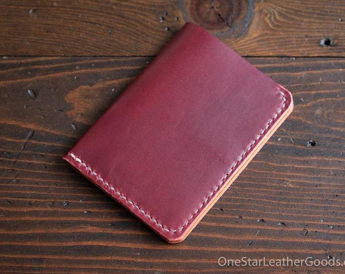 5 Pocket Slim wallet, Horween leather - red / tan