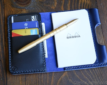 "Notebook/wallet/pen, ""Park Sloper Medium"" - Horween Chromexcel blue / black"