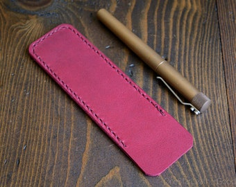 Pen Sleeve, Size Large - hand stitched Horween leather - magenta