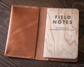 """Pocket Notebook Wrap Cover for Field Notes or other 3.5""""x5.5"""" notebooks - chestnut harness leather"""