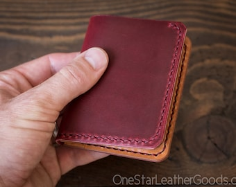 6 Pocket Horizontal Leather Wallet, Horween Chromexcel - red / tan