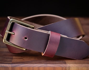 "Custom sized belt, 1.25"" heel bar buckle, belt for men & women, heavy duty belt, Horween Chromexcel leather -  - burgundy color No. 8"