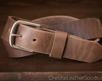 "Custom sized belt - 1.5"" width - Horween Chromexcel leather - heel bar buckle - natural chromexcel"