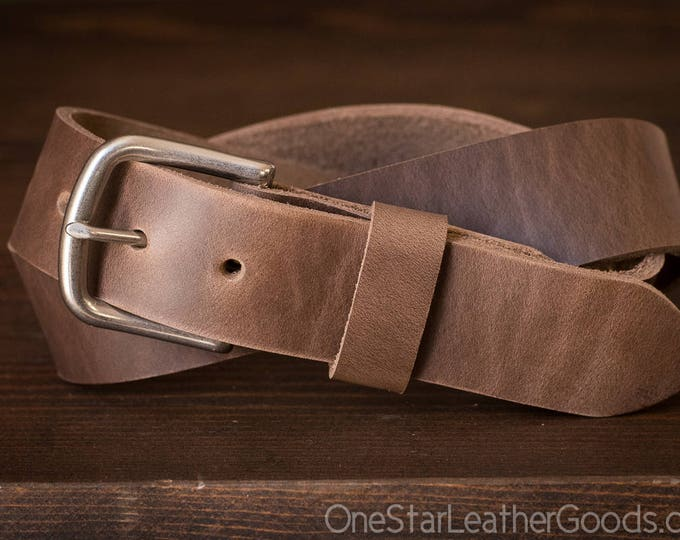 "Custom sized belt - 1.5"" width - Horween Chromexcel leather - heel bar buckle - natural chromexcel"