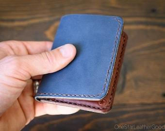 LIMITED RUN - 6 Pocket Horizontal Leather Wallet, Horween slate blue / medium brown bridle