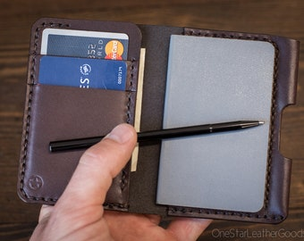 "Small Notebook Wallet and Pen ""Park Sloper Junior"" - brown bridle leather"