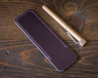 Pen Sleeve size large - hand stitched Horween leather - plum purple