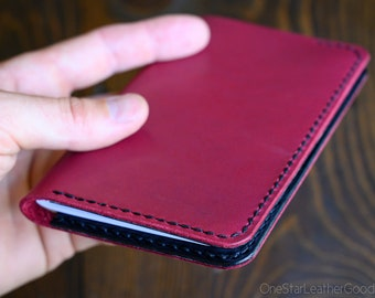 "Notebook cover, 3.5 x 5.5"", Hand Stitched Horween leather - magenta / black"