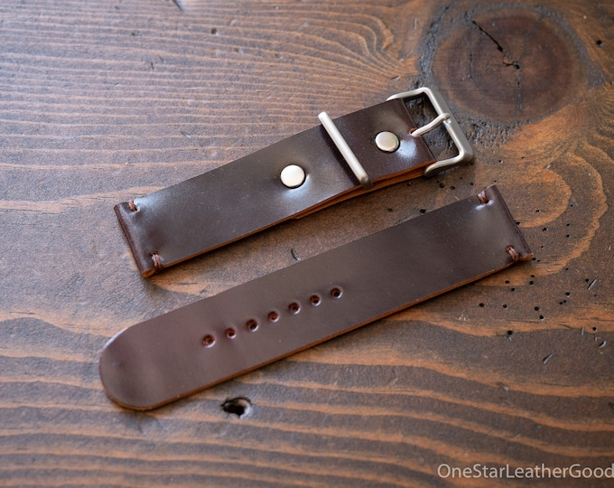 22mm Horween shell cordovan watch band - brown / matte hardware
