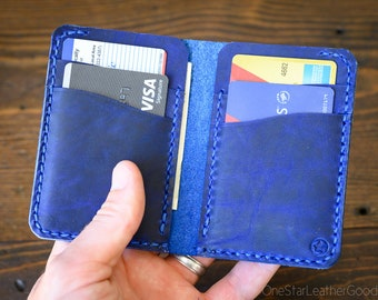 6 Pocket Vertical Leather Wallet - blue Horween Chromexcel